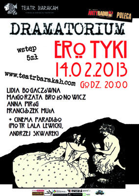Dramatorium. Erotyki, Teatr Barakah, Kraków, plakat (źródło: materiał prasowy)