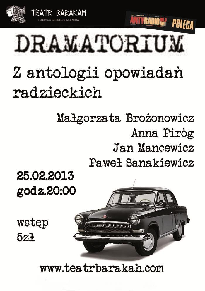 """Dramatorium, """"Z antologii opowiadań radzieckich"""", Teatr Barakah, Kraków, plakat (źródło: materiał prasowy)"""