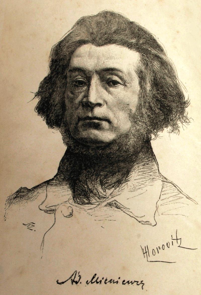 Portret Adama Mickiewicza w wykonaniu Leopolda Horowitza (na licencji creative commons)