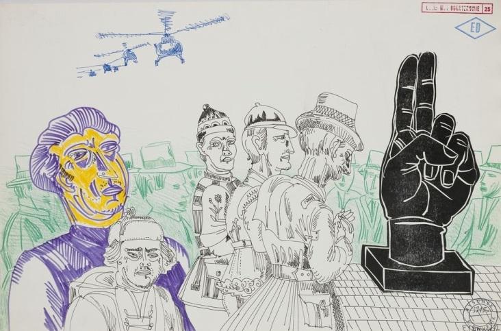 """Edward Dwurnik, """"Modlitwa pod helikopterami"""", cykl """"Moi bohaterowie"""", 1972, linoryt, tusz, flamaster, kredka, własność Artysty, fot. J.Świderski - MNK (źródło: materiały prasowe organizatora)"""