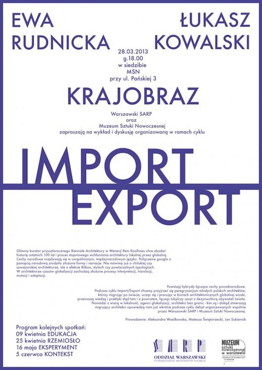 """Drugie spotkanie w cyklu """"Import/Export"""" pt. """"Krajobraz"""" (źródło: materiały prasowe organizatora)"""