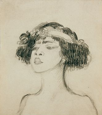 """Józef Mehoffer, """"Tancerka Rosario Guerrero (Głowa)"""", rysunek ołówkiem własność prywatna, depozyt MNK (źródło: materiały prasowe organizatora)"""