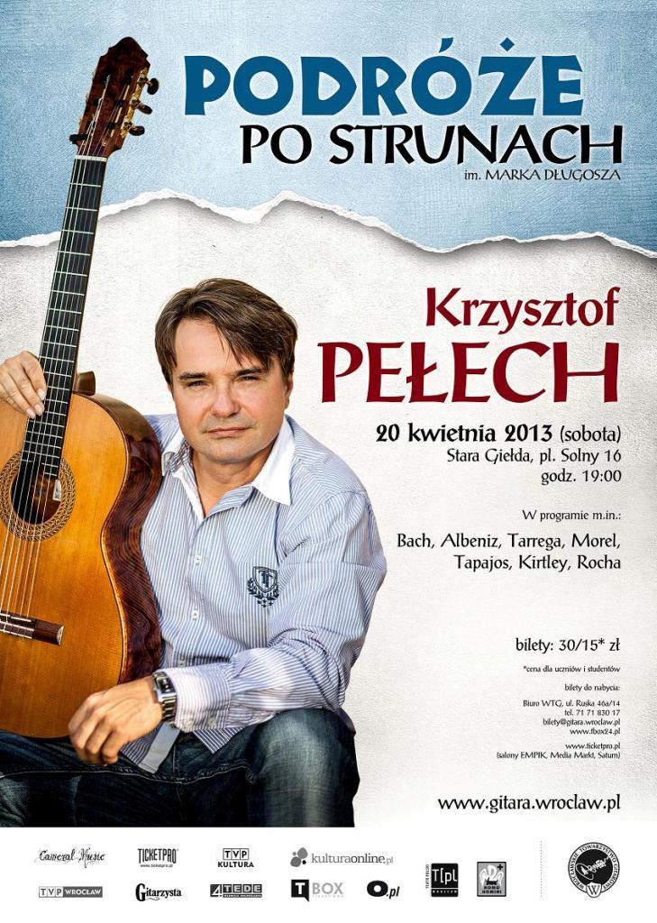 """Koncert Krzysztofa Pełecha, cykl """"Podróże po Strunach"""" - plakat (źródło: materiały prasowe)"""