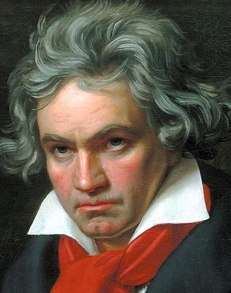 Ludwig van Beethoven w 1820, fragment obrazu Josepha Karla Stielera (źródło: Wikipedia Wolna encyklopedia)