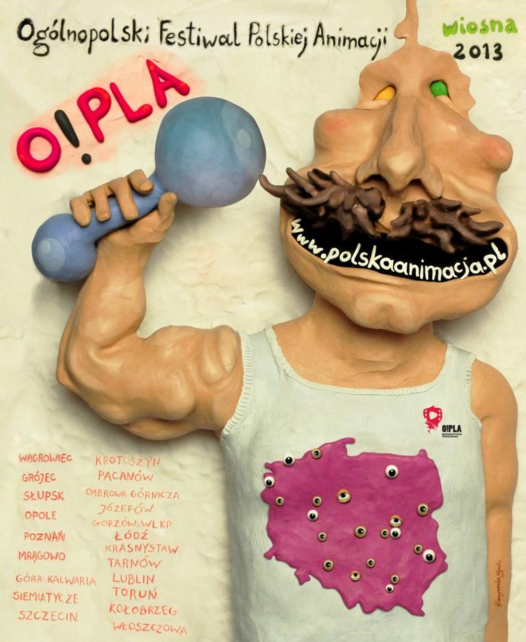 """Ogólnopolski Festiwal Polskiej Animacji """"O!PLA"""" – plakat (źródło: materiały prasowe)"""