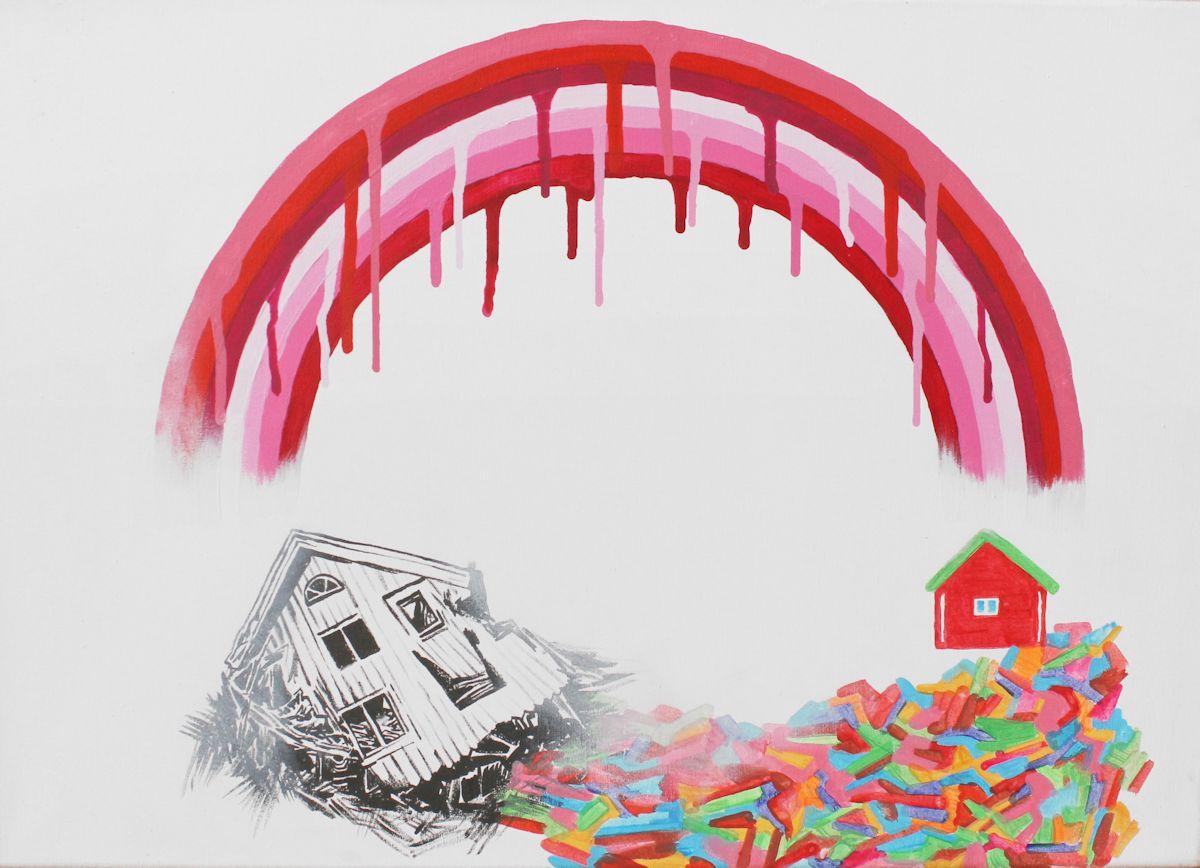 """Piotr Macha, """"Bloody Rainbow"""", 2012, akryl na płótnie, 46 x 65 cm (źródło: materiały prasowe organizatora)"""