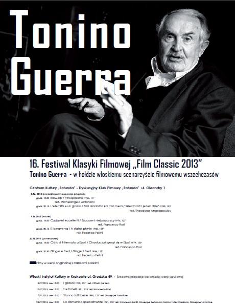 """""""Tonino Guerra – w hołdzie włoskiemu scenarzyście filmowemu wszechczasów"""" - plakat (źródło: materiały prasowe)"""