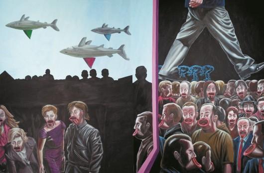 """Sławomir Lewczuk, """"Gębochłony, wdupiści i rekiny"""", 2008 (źródło: materiały prasowe organizatora)"""