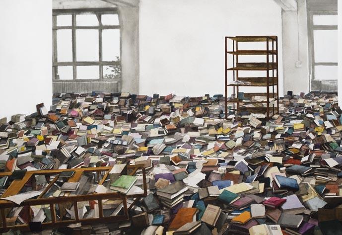 """Szymon Kobylarz, """"Biblioteka"""", akwarela, 50x70 cm, 2012 (źródło: materiały prasowe organizatora)"""