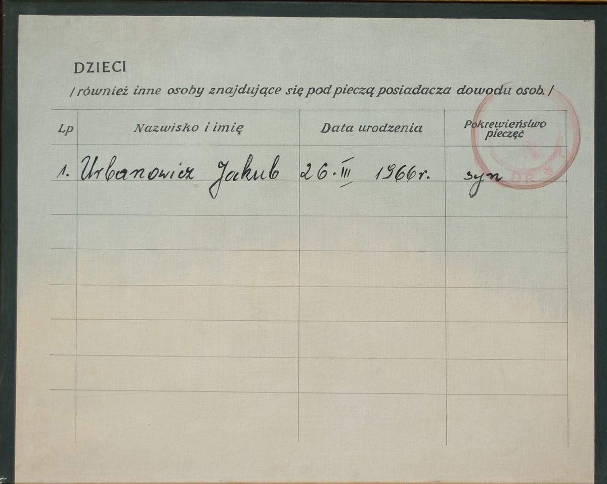 """Danuta Urbanowicz, """"Dowód osobisty"""", 1972, reprodukcja z Archiwum Galerii Zderzak (źródło: materiały prasowe organizatora)"""