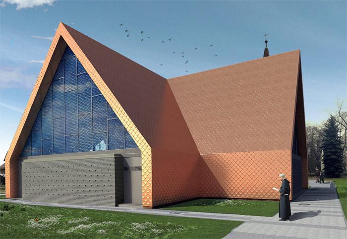 Koncepcja rozbudowy kościoła w Rokietnicy, wizualizacja, proj. Front Architects (źródło: materiały prasowe)