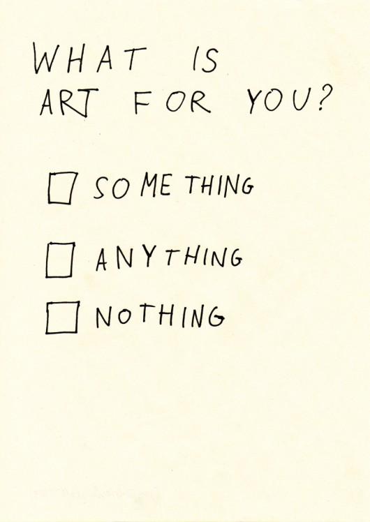 """Gregor Różański, """"What is art for you"""", 2009-2010 (źródło: materiały prasowe organizatora)"""