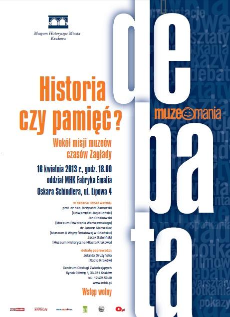 Historia czy Pamięc? plakat debaty (źródło: mat. prasowe)