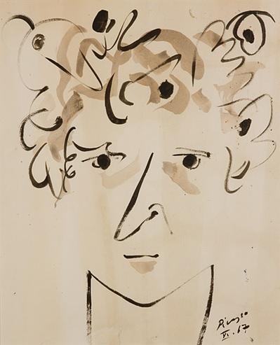 Pablo Picasso, Portret Witolda-K, tusz na papierze, 1967, fot. J. Świderski – MNK (źródło: materiały prasowe organizatora)