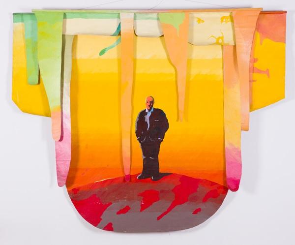 """Jan Sawka (1946-2012); Sztandar z cyklu """"Sfera"""", 1990, akryl na płótnie (źródło: materiały prasowe organizatora)"""