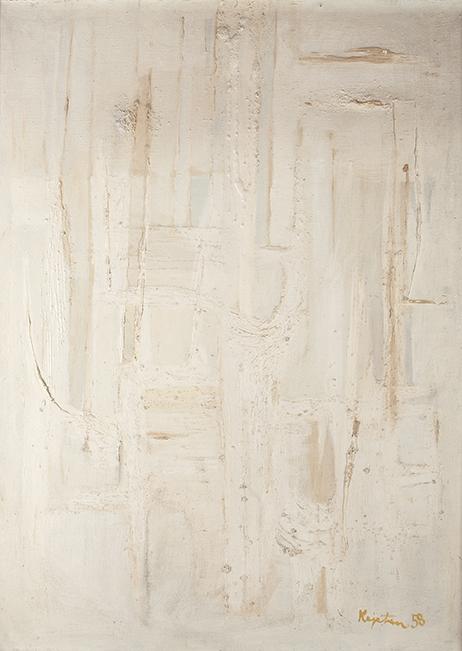 """Kajetan Sosnowski, """"Kompozycja w białym"""", B 12 XII 1958, olej, płótno, własność rodziny artysty (źródło: materiały prasowe organizatora)"""