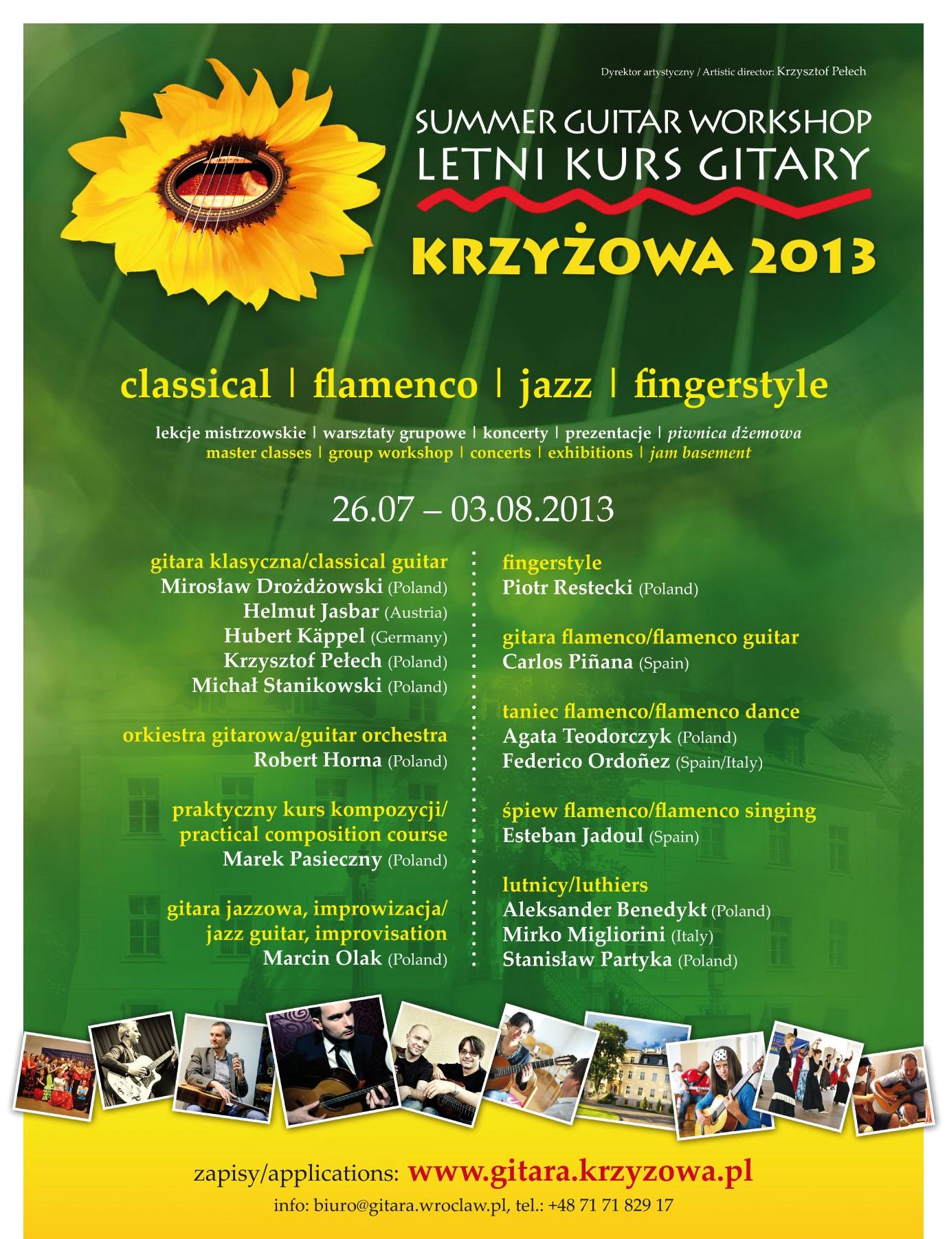 """13. Letni Kurs Gitary """"Krzyżowa"""" 2013, plakat (źródło: mat. prasowe)"""