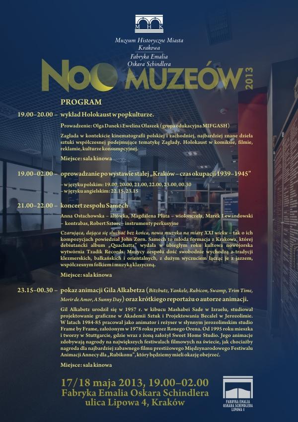 Program Nocy Muzeów w Fabryce Schindlera (źródło: mat. prasowe)