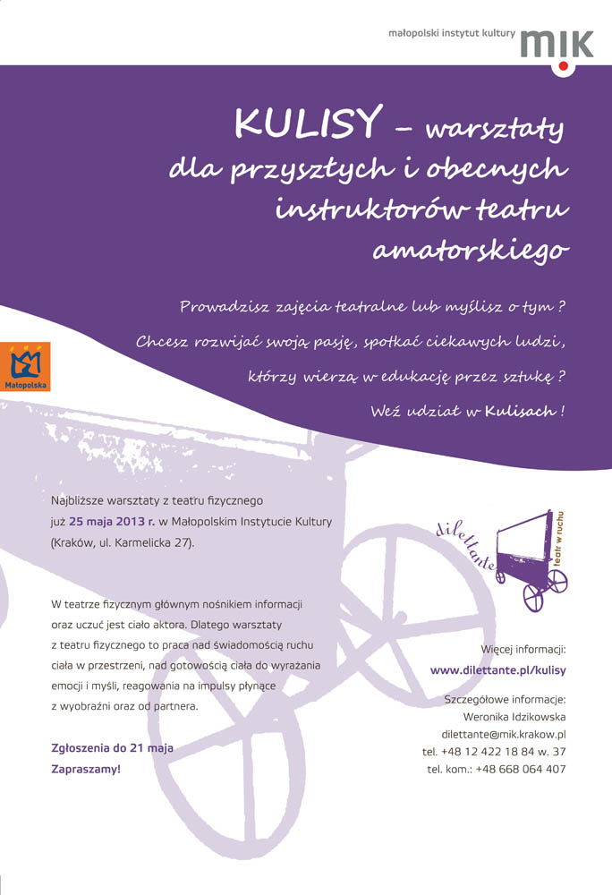 Warsztaty teatru fizycznego w Małopolskim Instytucie Kultury (źródło: materiały prasowe)