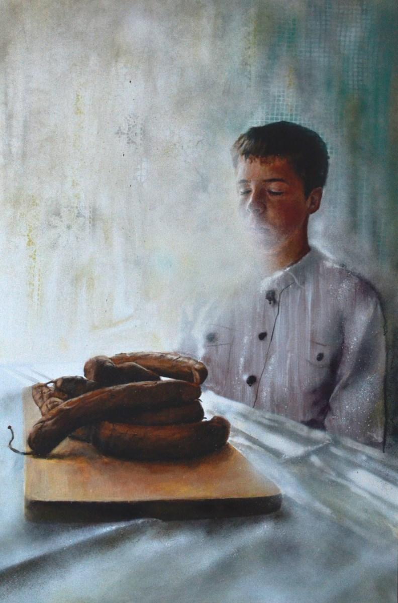 """Arkadiusz Andrejkow, """"Wyrób nr 4"""", 120x80 cm, akryl, spray, płótno, 2013 (źródło: materiały prasowe organizatora)"""
