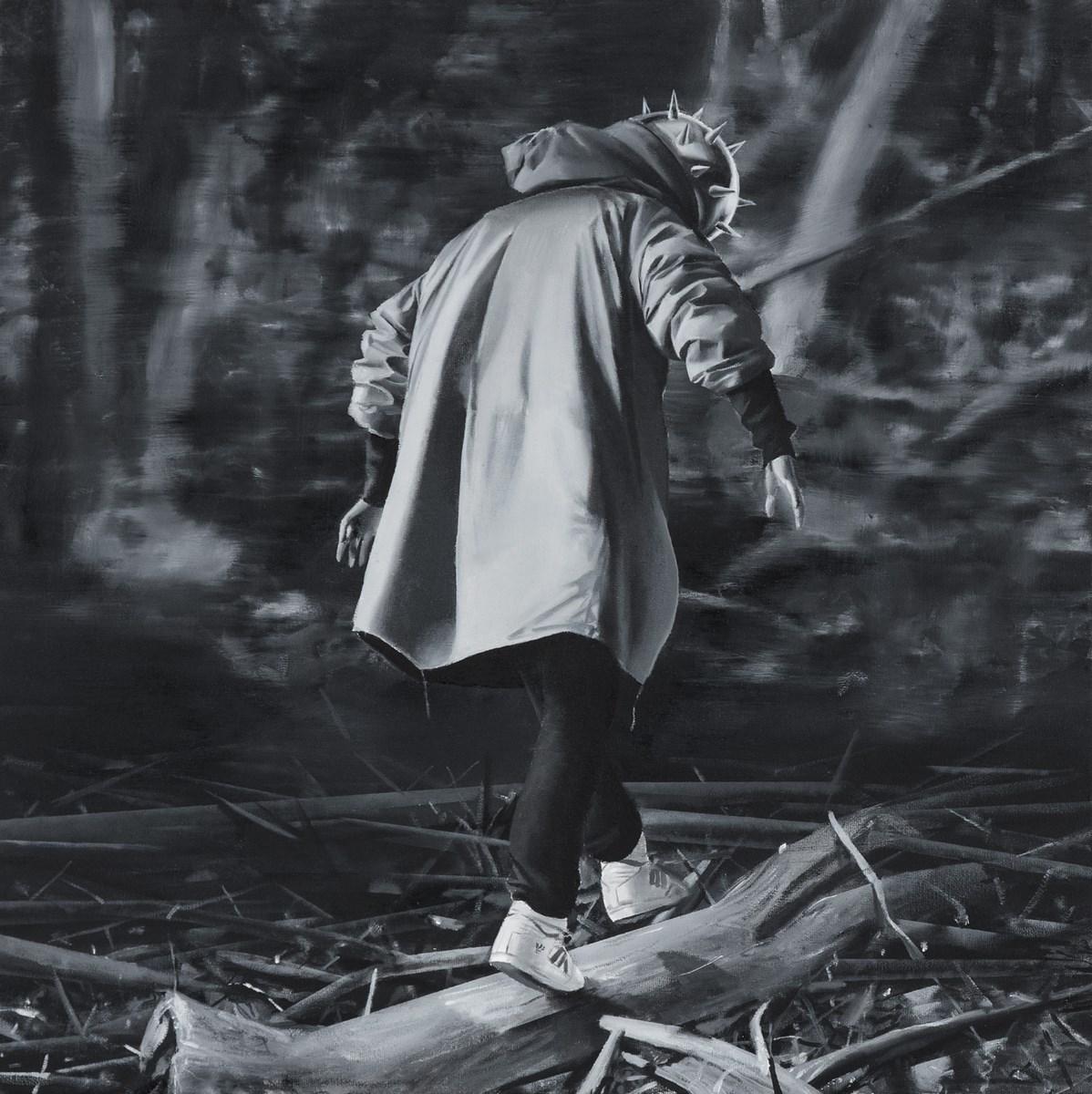 """Bartek Buczek, """"Czarny charakter II"""", olej, 50x50 cm (źródło: materiały prasowe organizatora)"""