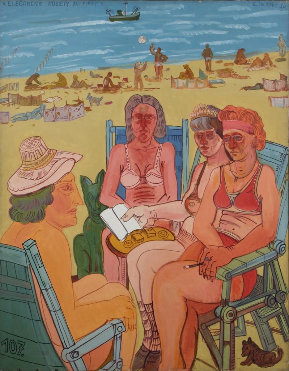 """Edward Dwurnik, """"Eleganckie kobiety na plaży"""", 1974, Muzeum Narodowe w Szczecinie, fot. G. Solecki (źródło: materiały prasowe organizatora)"""