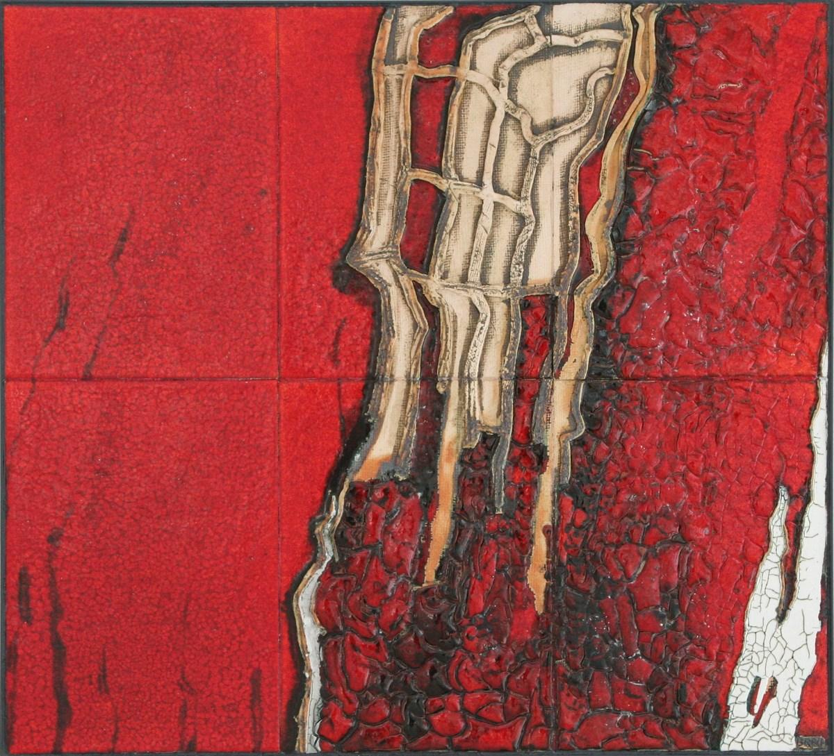 """Stanisław Brach, """"Ogień"""" z cyklu """"Cztery elementy"""", obraz ceramiczny (źródło: materiały prasowe organizatora)"""