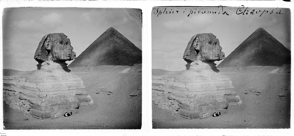 Sfinks i piramida Cheopsa, Giza, luty 1911. Fot. Stanisław Wilhelm Lilpop / archiwum Muzeum w Stawisku / FOTONOVA