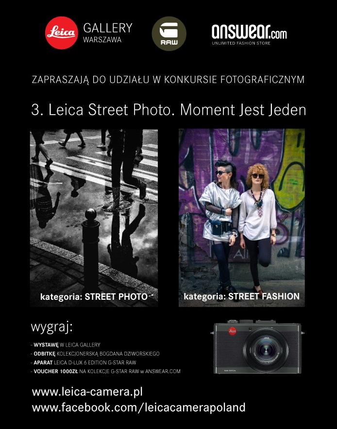 """3. Konkurs fotografii ulicznej """"Moment jest jeden"""", Leica Gallery Warszawa, plakat (źródło: materiały prasowe organizatora)"""