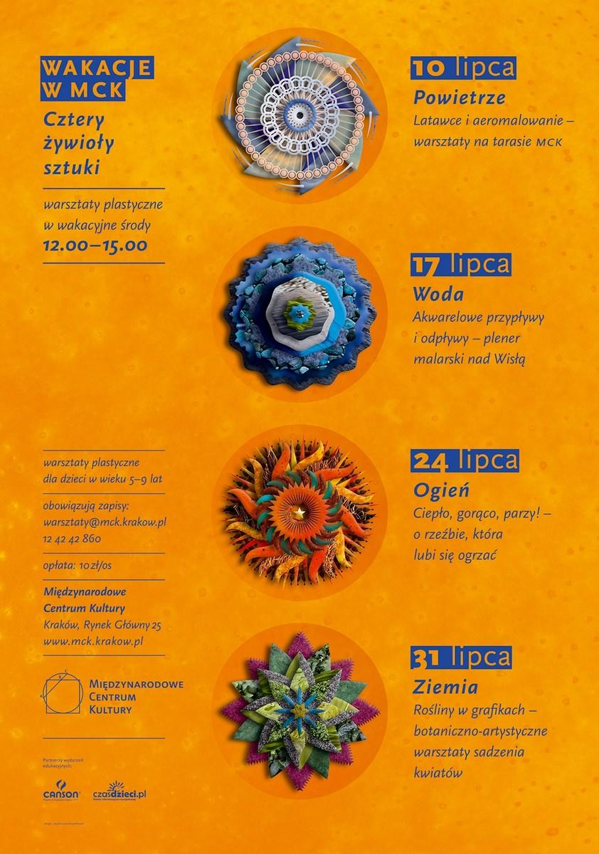 """Warsztaty """"Cztery żywioły sztuki"""", MCK w Krakowie, plakat (źródło: materiały prasowe organizatora)"""