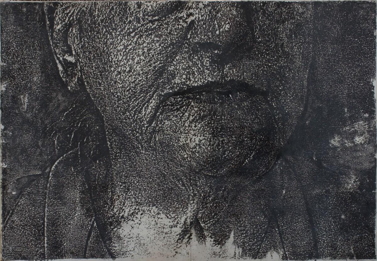 """Krystyna Piotrowska, """"Anna"""", technika własna na blasze aluminiowej, 1995 (źródło: materiały prasowe organizatora)"""