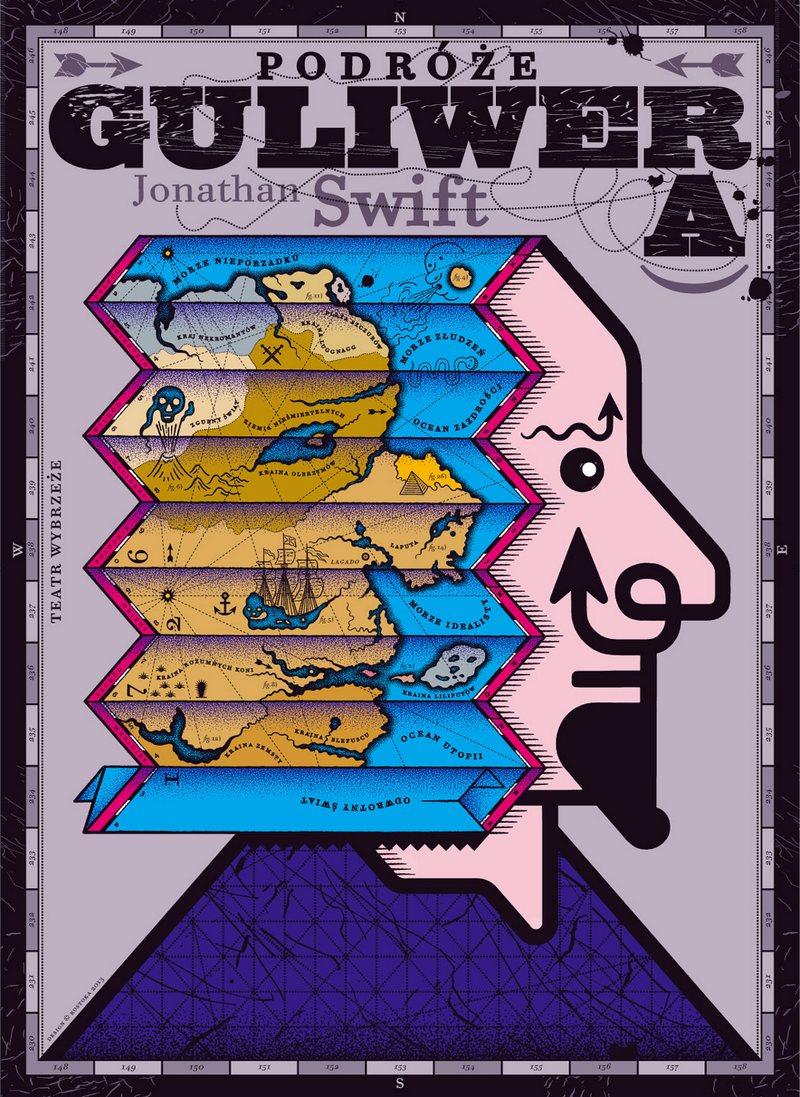 Podróże Guliwera, Teatr Wybrzeże w Sopocie – plakat; autor: Vladislav Rostoka (źródło: mat. prasowe)