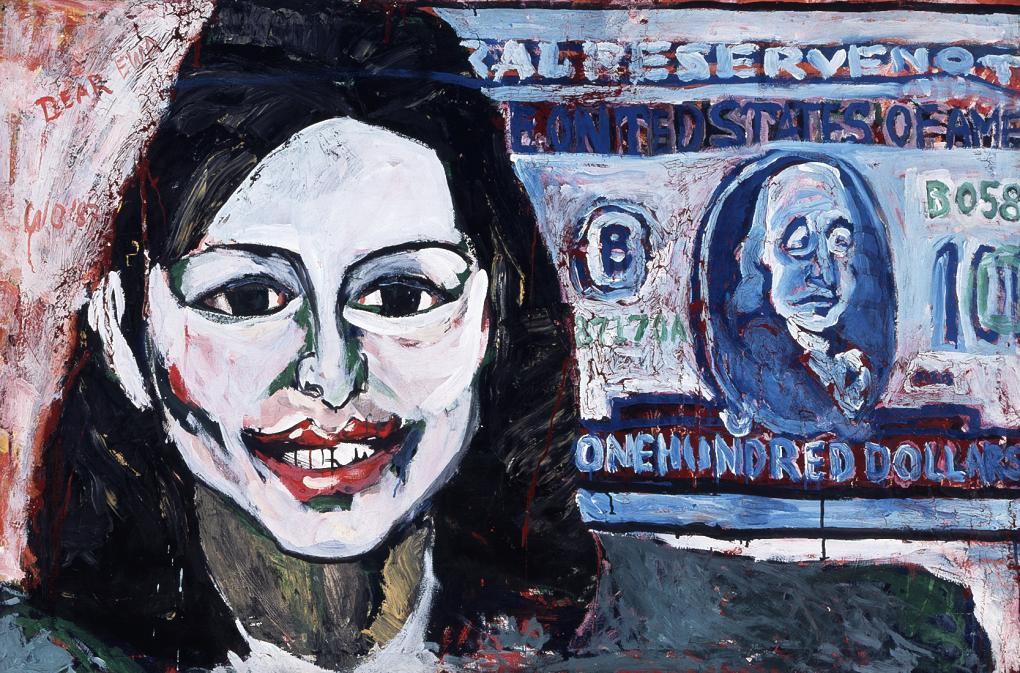 """Wiesław Obrzydowski, """"Dear Ewa (Dolar)"""", 1987, akryl, olej, płótno, 100 x 150 cm, kolekcja Muzeum Sztuki Współczesnej w Radomiu, fot. Marek Gardulski (źródło: materiały prasowe organizatora)"""