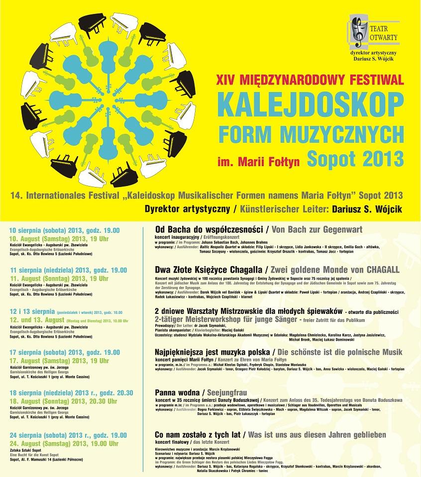 """XIV Międzynarodowy Festiwal """"Kalejdoskop Form Muzycznych im. Marii Fołtyn"""" Sopot 2013, plakat (źródło: mat. prasowe)"""