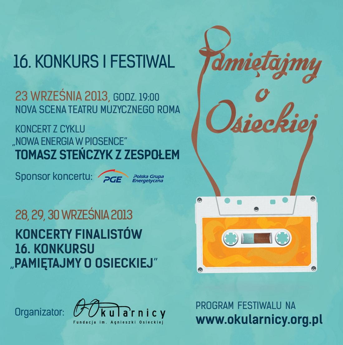 """16. Konkurs i Festiwal """"Pamiętajmy o Osieckiej"""", plakat (źródło: mat. prasowe)"""