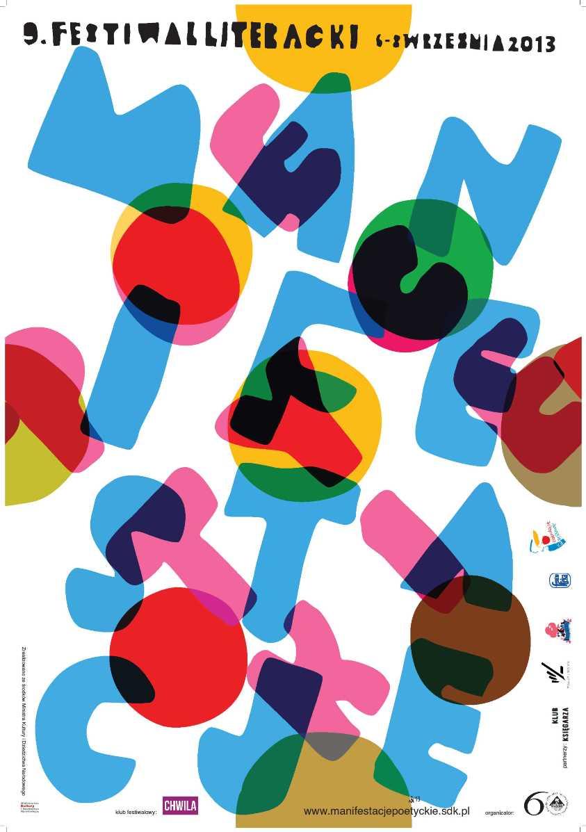 """IX Festiwal Literacki """"Manifestacje Poetyckie"""" – plakat; autor: Piotr Młodożeniec (źródło: materiały prasowe)"""