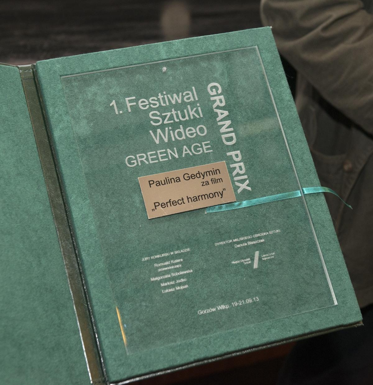 1. Festiwal Sztuki Wideo Green Age, wręczenie nagród, MOS w Gorzowie Wlkp., 21 września 2013 r. (źródło: materiały prasowe organizatora)