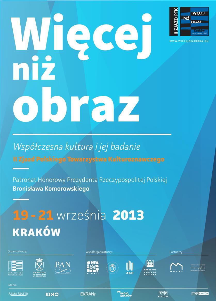 """II Zjazd Polskiego Towarzystwa Kulturoznawczego """"Więcej niż obraz"""" – plakat (źródło: materiały prasowe)"""