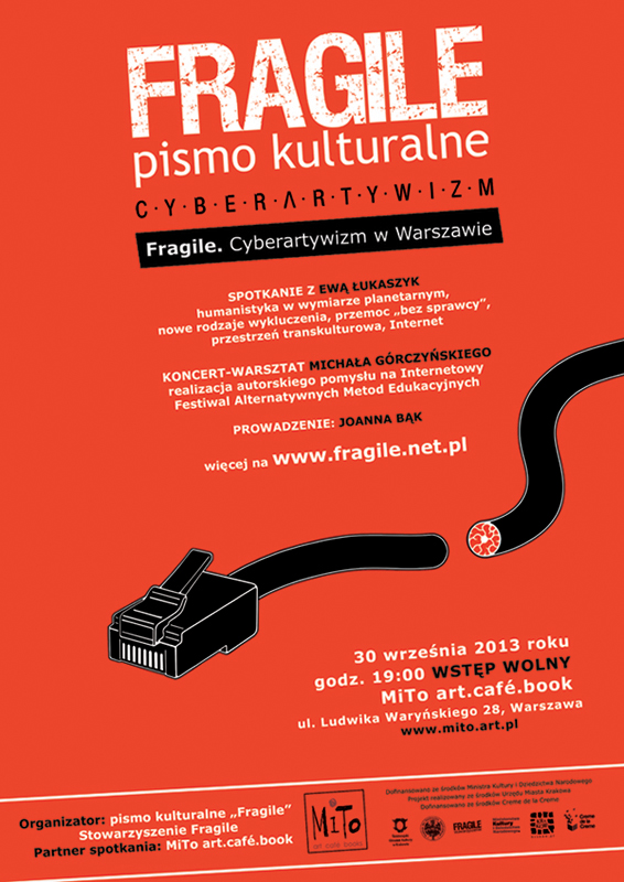 """""""Fragile"""". Cyberartywizm w Warszawie – plakat (źródło: materiały prasowe)"""