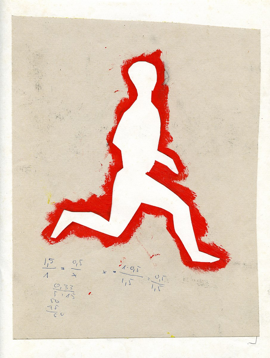 """Jarosław Modzelewski, szablon do obrazu """"Bieg czerwonych ludzi"""", 1983, wł. autora (źródło: materiały prasowe organizatora)"""