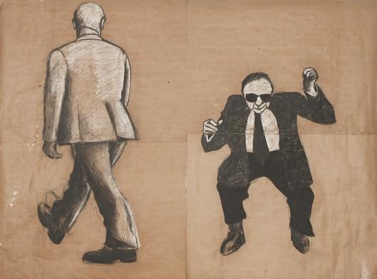 """Jarosław Modzelewski, """"Dwaj mężczyźni"""", 1985, węgiel, szary papier, wł. autora (źródło: materiały prasowe organizatora)"""