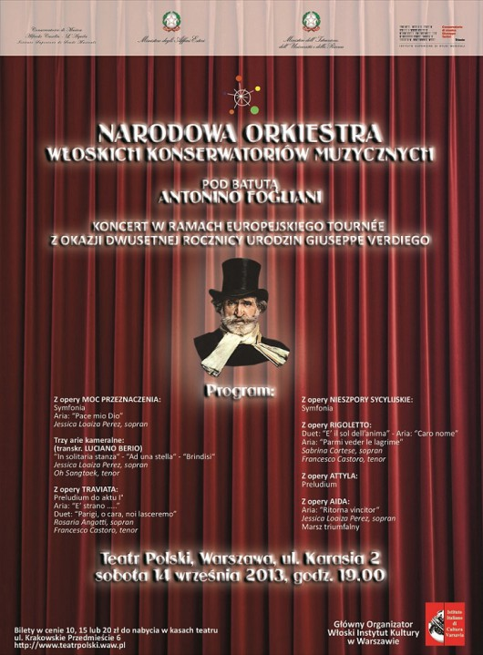 Koncert Narodowej Orkiestry Włoskich Konserwatorów Muzycznych, plakat (źródło: mat. prasowe)