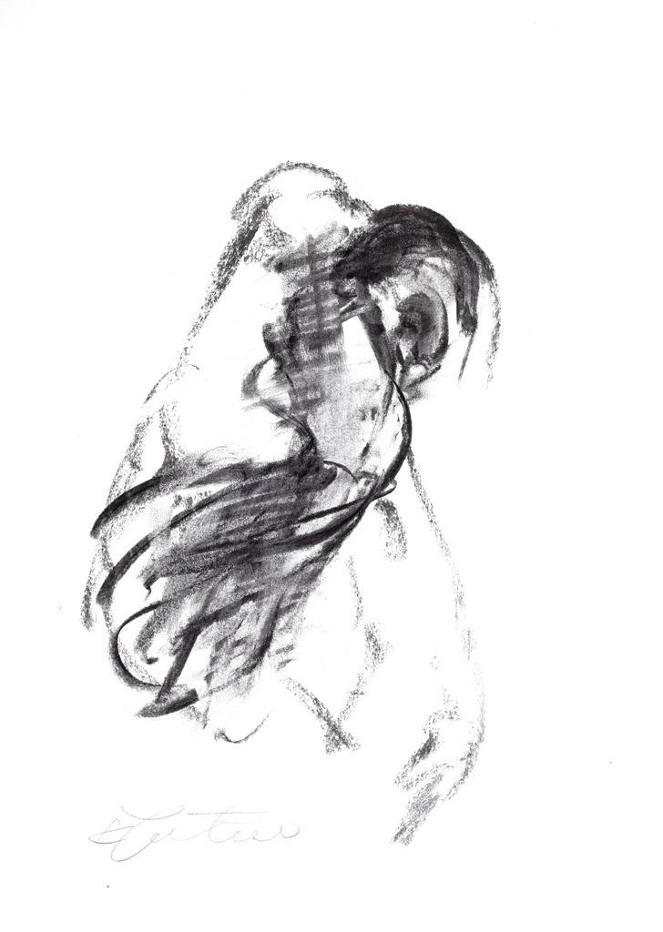 """Krzysztof Juretko, """"Scena tańca w operze IV"""", węgiel , 42x 29,7 cm, 2012 (xródło: materiały prasowe organizatora)"""