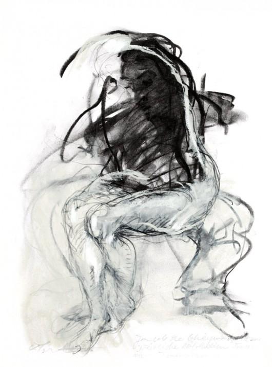 """Krzysztof Juretko, Jacob de Gheyn Starszy, """"Studium aktu"""", przez scenę tańca 1, węgiel, neopast el, ołówek, 42,0 x 29,7 cm, 2012 (xródło: materiały prasowe organizatora)"""