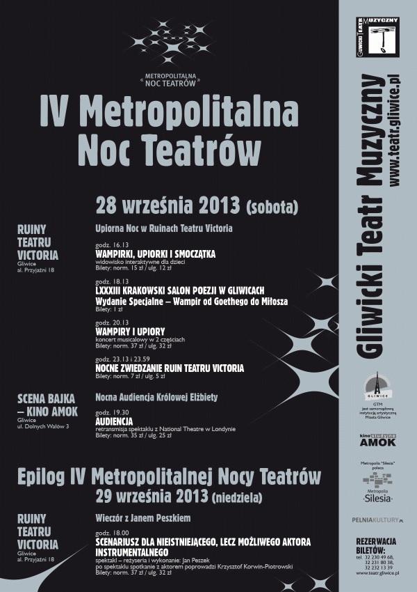 Metropolitalna Noc Teatrów w Gliwickim Teatrze Muzycznym, plakat (źródło: mat. organizatora)