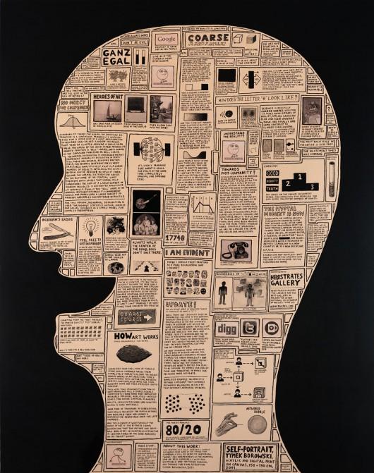"""Tymek Borowski, """"Autoportret"""", akryl i wydruki cyfrowe na płótnie, 150x190cm, 2011 (źródło: materiały prasowe organizatora)"""