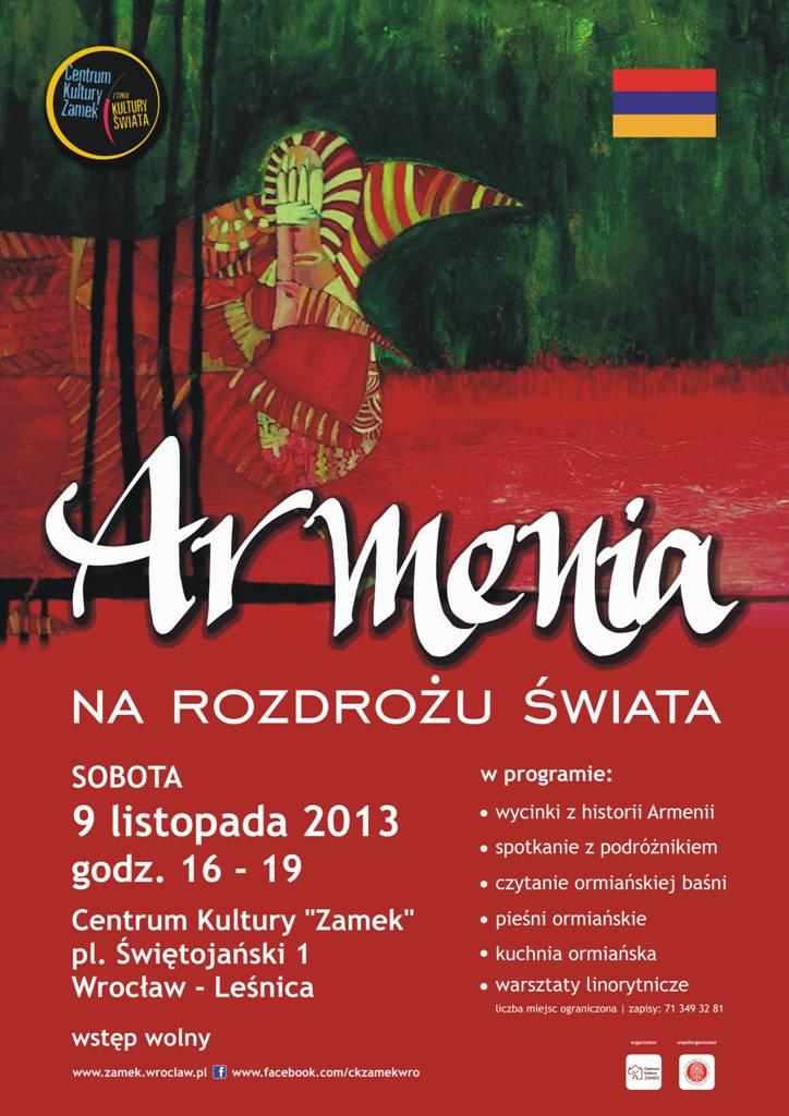 """""""Armenia - na rozdrożu świata"""" Centrum Kultury Zamek we Wrocławiu - plakat (źródło: materiały prasowe)"""