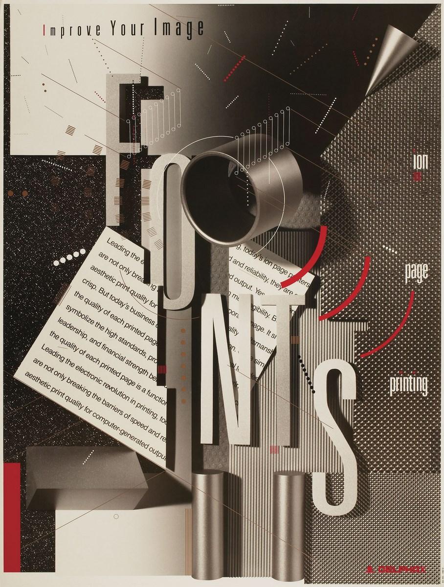"Delphax Fonts. ""Improve Your Image"". Ion page printing, offset, 1987 (źródło: materiały prasowe organizatora)"