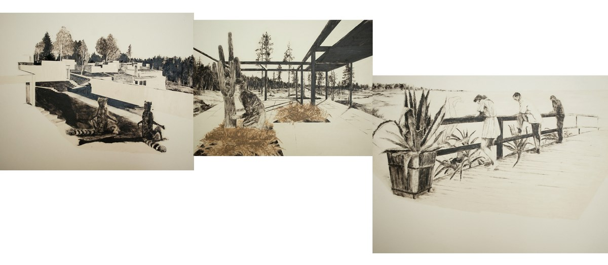 """Monika Szwed, trzy rysunki z cyklu """"przestępne lata"""" ułożone w sekwencję, 2013, fot. Kornelia Szpunar (źródło: materiały prasowe organizatora)"""