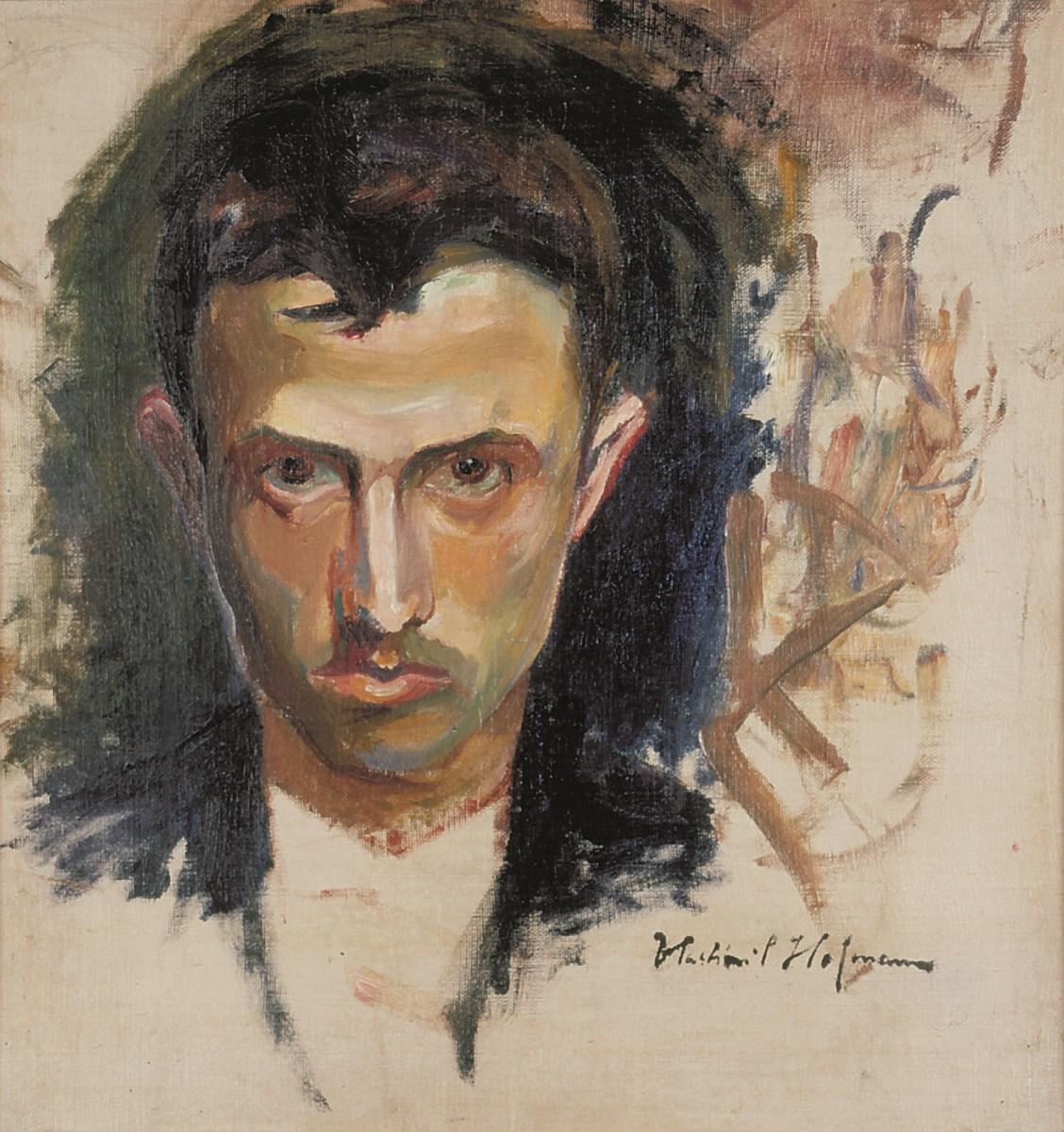 """Wlastimil Hofman, """"Autoportret"""", pocz. XX w., olej, płótno, (37,5 x 36 cm), ze zbiorów Muzeum Karkonoskiego w Jeleniej Górze (źródło: materiały prasowe organizatora)"""